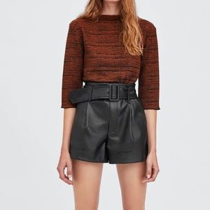 Zara faux leather belted shorts